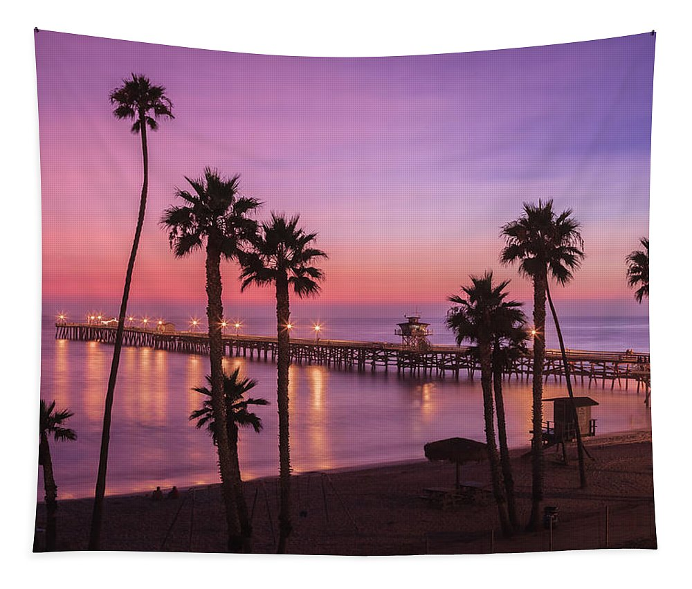 Beach Sunset Tapestry featuring the photograph San Clemente Sunset Meditation by Scott Campbell