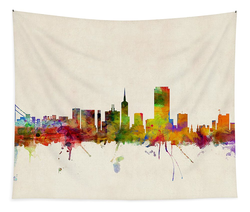 San Francisco Tapestry featuring the digital art San Francisco City Skyline by Michael Tompsett