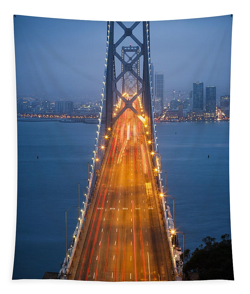 3scape Tapestry featuring the photograph San Francisco - Oakland Bay Bridge by Adam Romanowicz