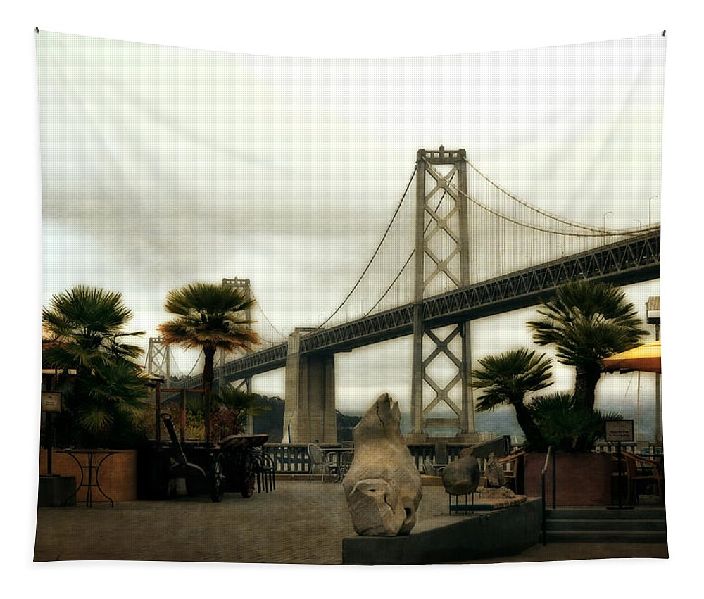Bay Bridge Tapestry featuring the photograph San Francisco Oakland Bay Bridge by Michelle Calkins