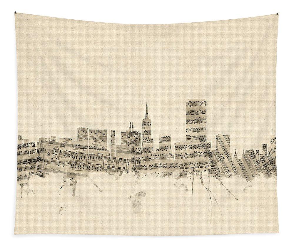 San Francisco Tapestry featuring the digital art San Francisco Skyline Sheet Music Cityscape by Michael Tompsett