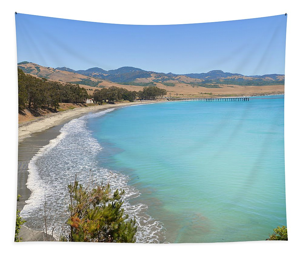 Blue Tapestry featuring the photograph San Simeon Bay by Lynn Bauer