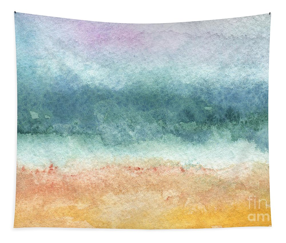 Abstract Tapestry featuring the painting Sand and Sea by Linda Woods