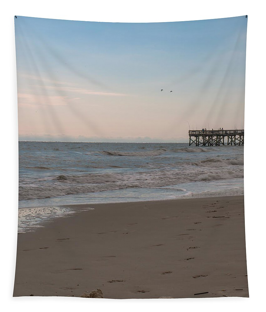 Sand Castle Tapestry featuring the photograph Sand Castle At Beach by Dale Powell