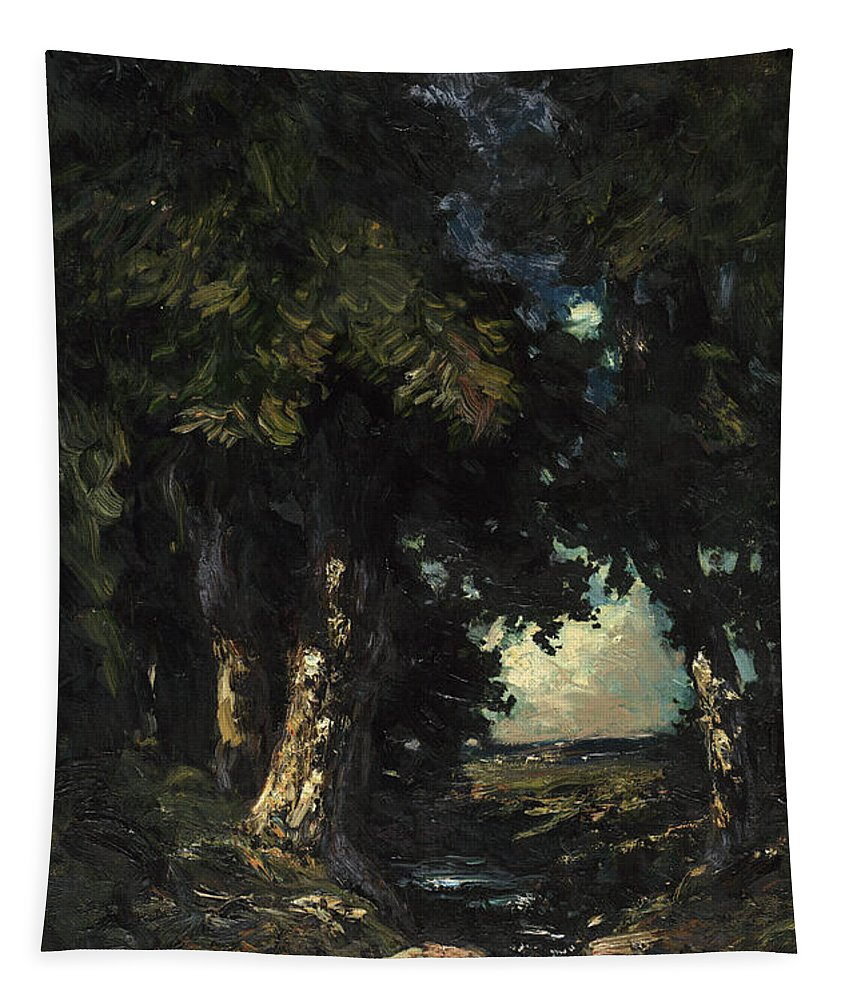 Land Tapestry featuring the painting Sandersons Brook by Julian Rix