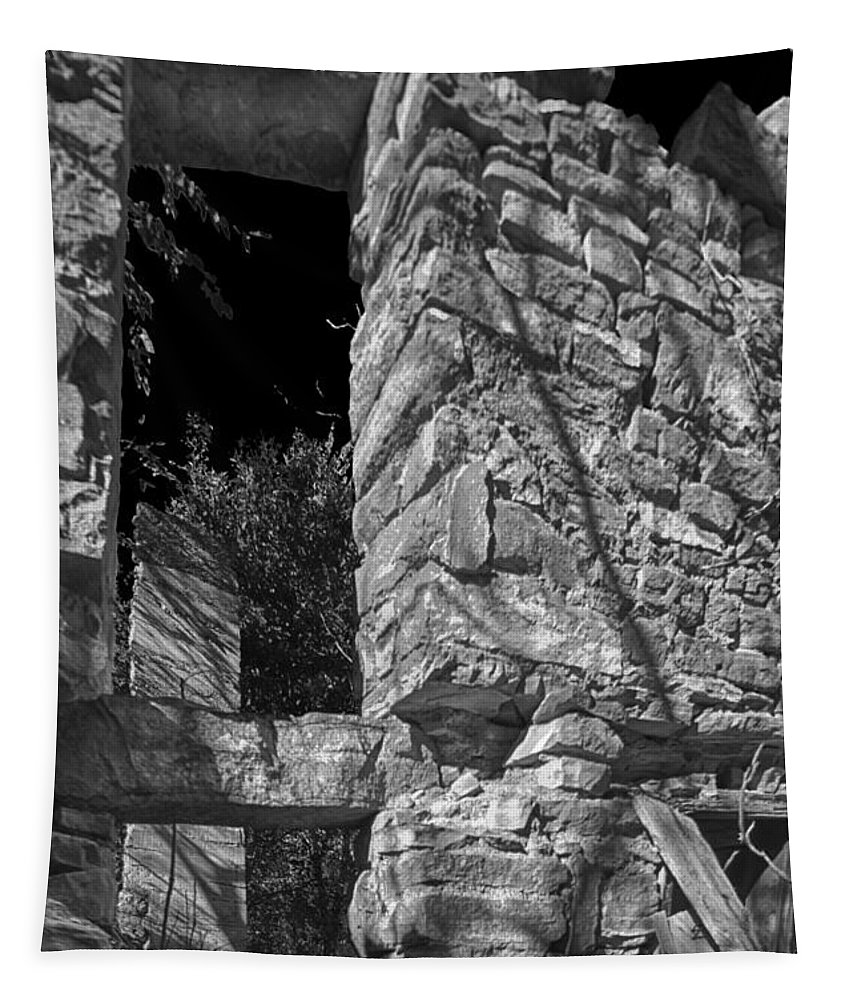 Abandoned Tapestry featuring the photograph Sandstone Arch Jerome Black And White by Scott Campbell