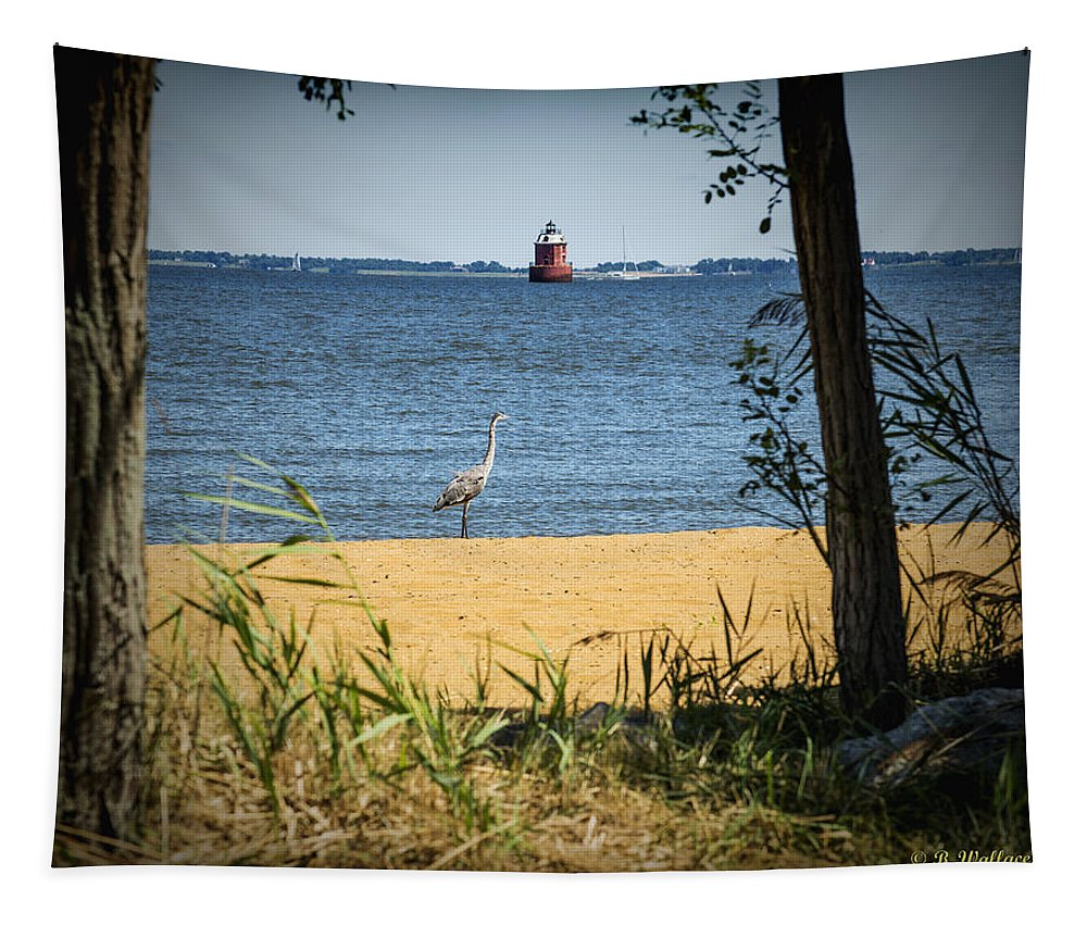 2d Tapestry featuring the photograph Sandy Pt Shoal Lighthouse And Blue Heron by Brian Wallace