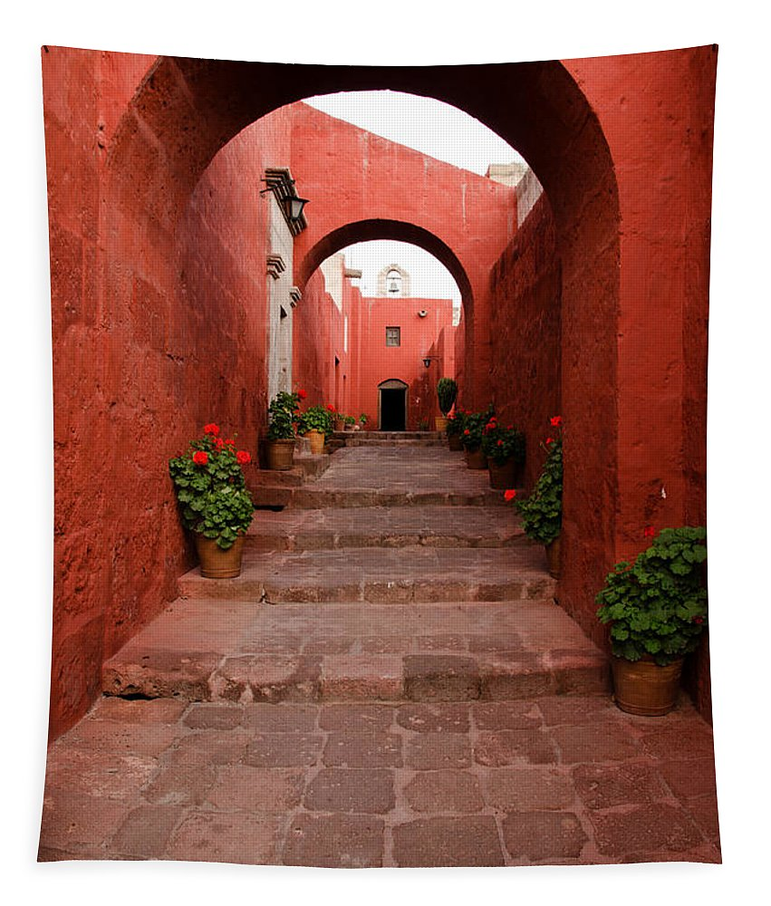Santa Catalina Tapestry featuring the photograph Santa Catalina Monastery In Arequipa Peru by Ralf Broskvar