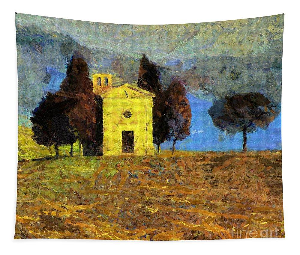 Landscapes Rural Scenes Tapestry featuring the painting Santa Maria Di Vitaleta by Dragica Micki Fortuna