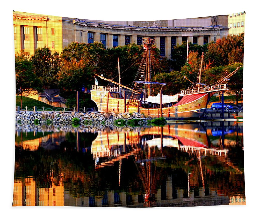 Ship Tapestry featuring the photograph Santa Maria Reflection by Laurel Talabere