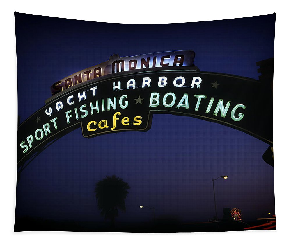 Santa Monica Tapestry featuring the photograph Santa Monica Pier Sign by Mountain Dreams