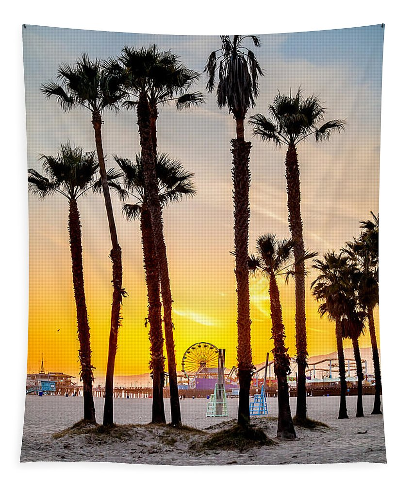 Los Angeles Tapestry featuring the photograph Santa Monica Palms by Az Jackson