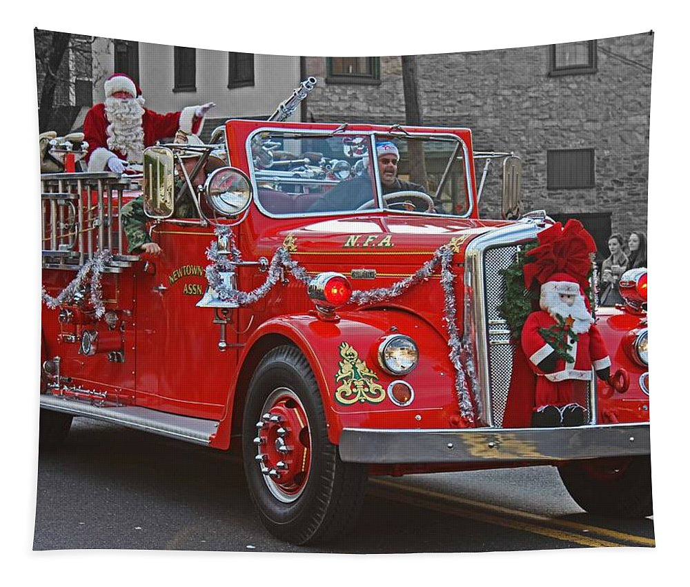 Greeting Card Tapestry featuring the photograph Santa On Fire Truck by Tom Gari Gallery-Three-Photography