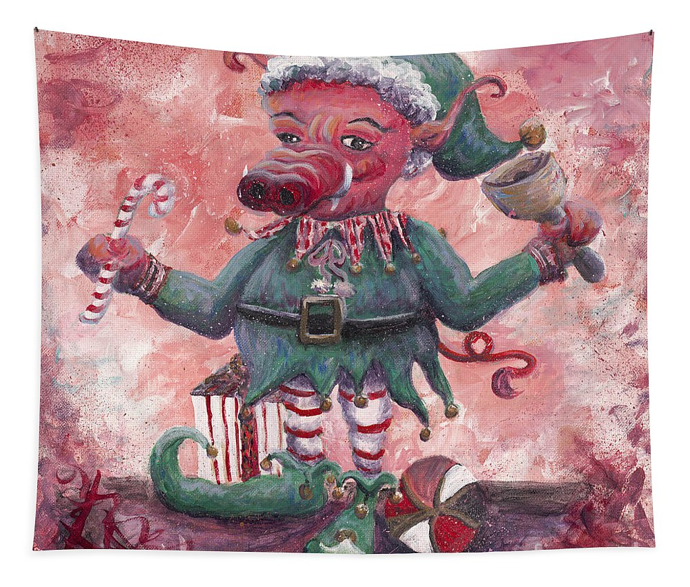 Elf Tapestry featuring the painting Santa's Littlest Elf Hog by Nadine Rippelmeyer