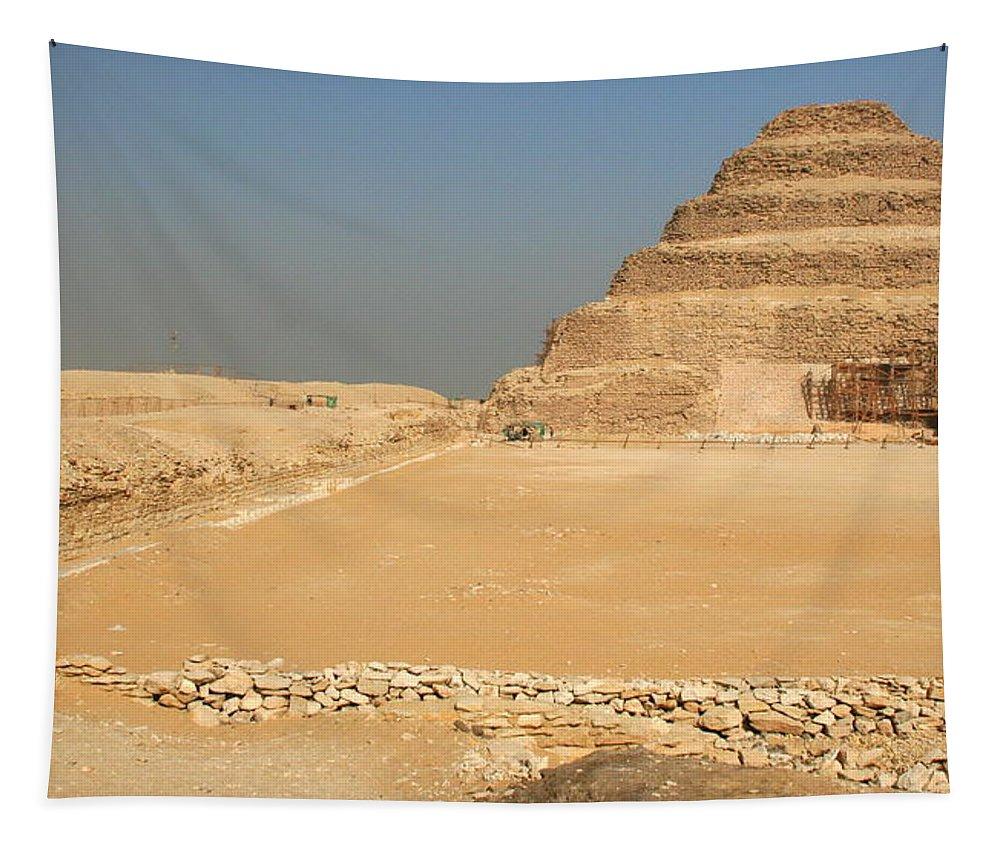 Saqqara Tapestry featuring the photograph Saqqara Step Pyramid by Laurel Talabere