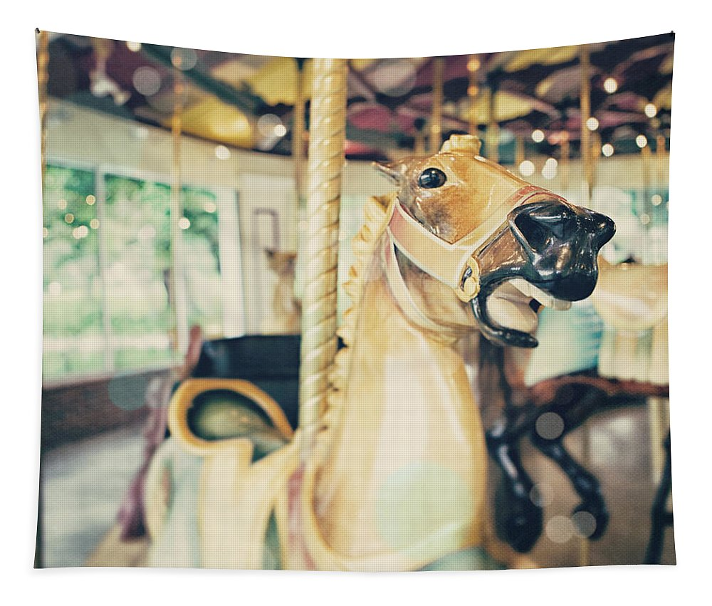 Carousel Tapestry featuring the photograph Saratoga Springs Carousel from Kayaderosseras by Lisa R