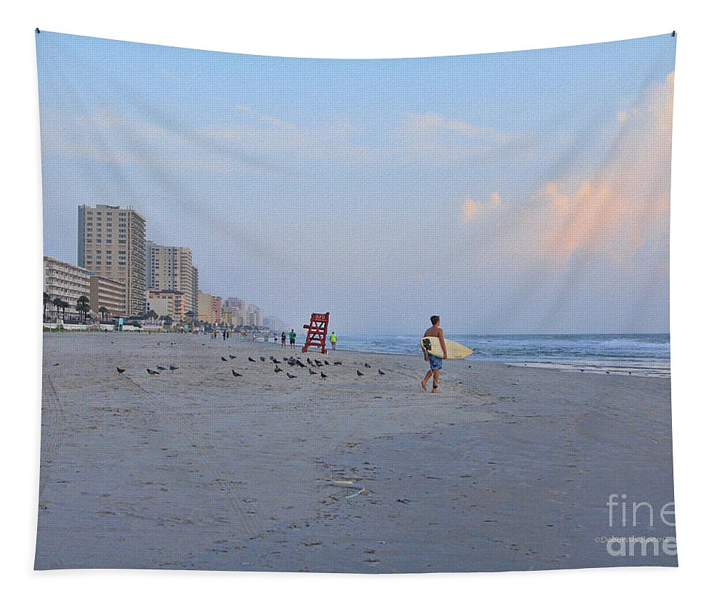 Beach Tapestry featuring the photograph Saturday Morning Surfer by Deborah Benoit