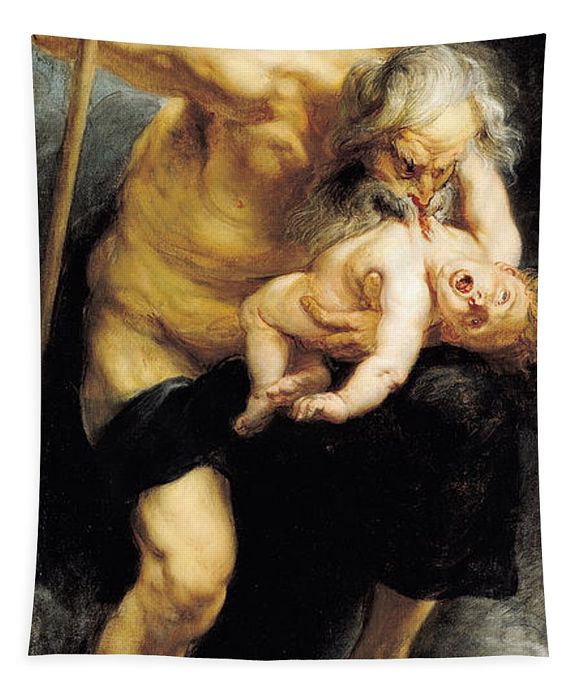 Rubens Tapestry featuring the painting Saturn Devouring His Son by Peter Paul Rubens