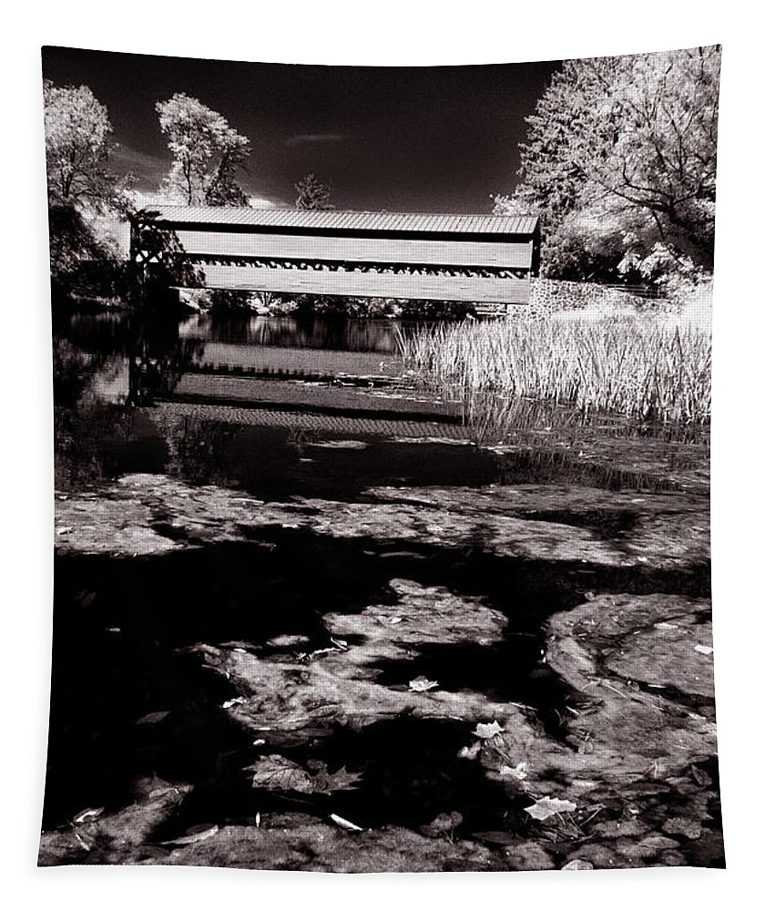 Ir Tapestry featuring the photograph Saucks Bridge Down Stream by Paul W Faust - Impressions of Light