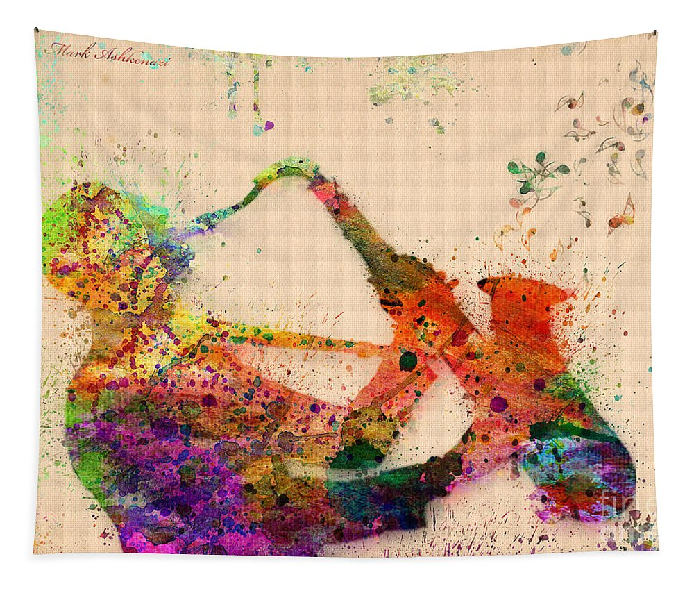Saxophone Tapestry featuring the painting Saxophone by Mark Ashkenazi