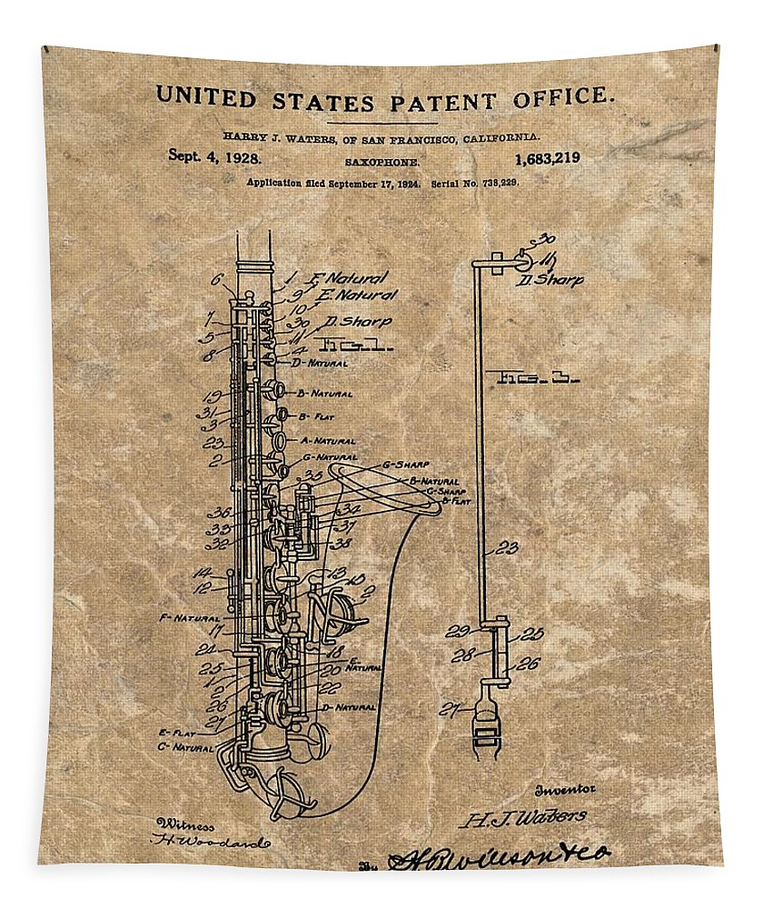 Saxophone Patent Cool Blue Tapestry featuring the mixed media Saxophone Patent Design Illustration by Dan Sproul