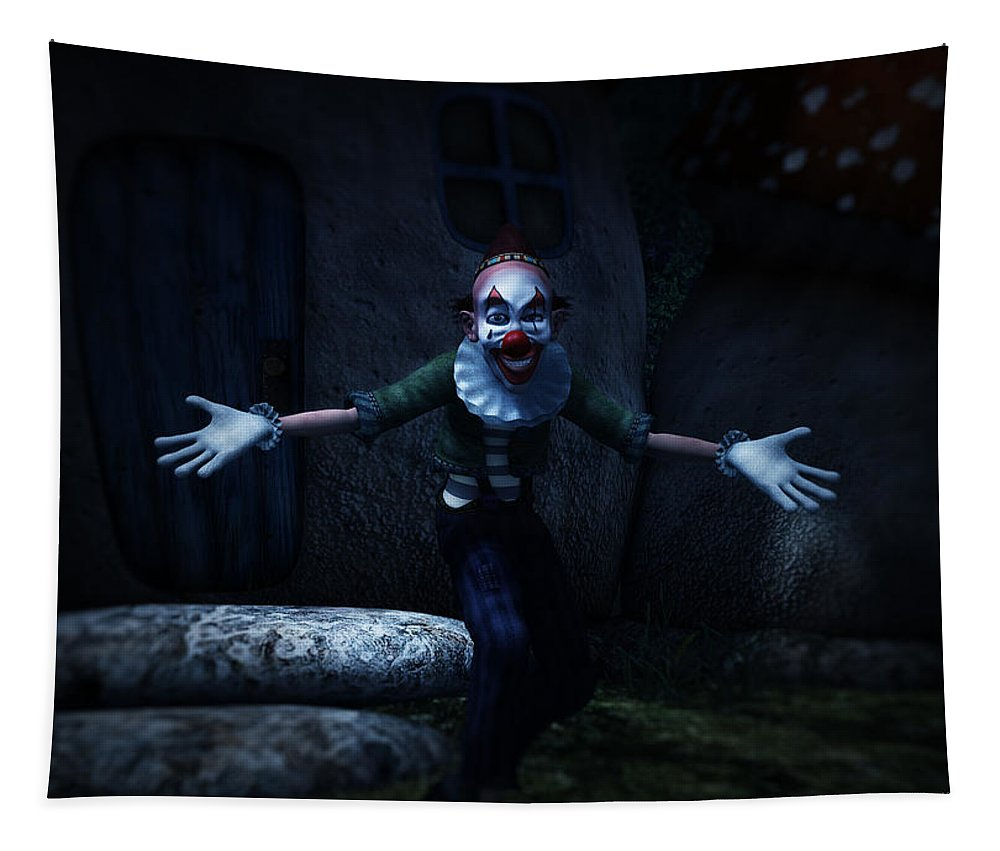 Scary Tapestry featuring the digital art Scary Clown by Ramon Martinez