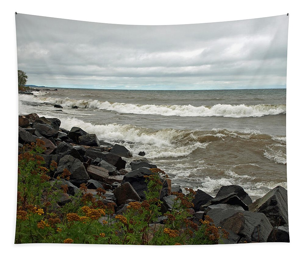 Melissa Peterson Nature Photography Wave Waves North Shore Lake Superior Great Lakes Northern Minnesota Mn Crashing Rolling Beautiful Shoreline Shorelines Surf Landscape Landscapes Seascape Seascapes Beach Beaches Rocky Shores Flood Bay Highway 61 Scenic Weather Natural Beauty Breaking Water In Motion Art Decorative Curl Aqua Splash Marine Beautiful Power Powerful Fresh Digital Clouds Cloudy Barrel Extreme Crash Surge Splashes Nautical Outdoors Rough Splashing Wild Flowers Rocks Scene America Tapestry featuring the photograph Scenic Minnesota by James Peterson