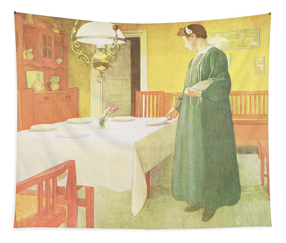Laying The Table Tapestry featuring the painting School Household, Dining Room Scene by Carl Larsson