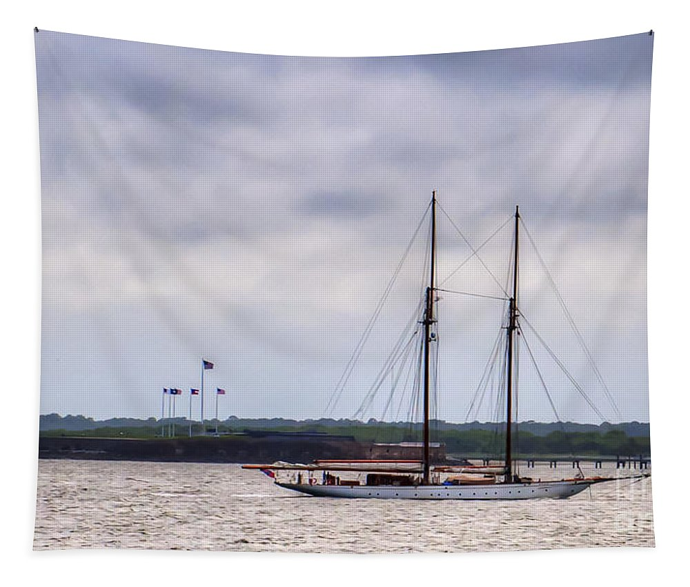 Schooner Tapestry featuring the photograph Schooner Sailing Past Fort Sumter by Dale Powell
