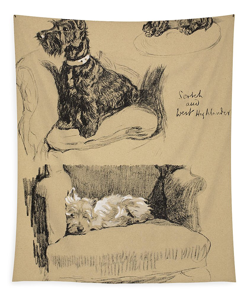 Dog Tapestry featuring the drawing Scotch And West Highlander, 1930 by Cecil Charles Windsor Aldin