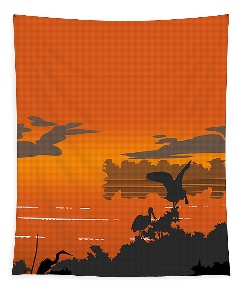 Abstract Tapestry featuring the digital art Abstract Tropical Birds Sunset Large Pop Art Nouveau Landscape 4 - Right Side by Walt Curlee