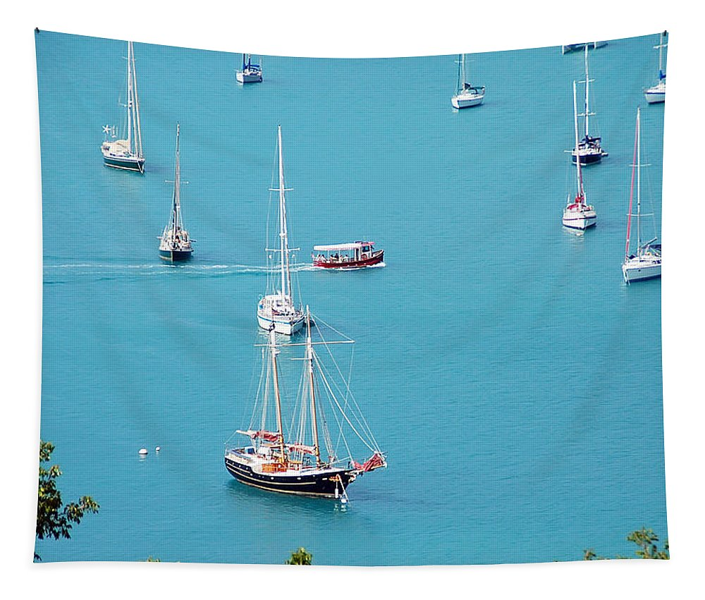 St Thomas Tapestry featuring the photograph Sea Of Sailboats by Aimee L Maher ALM GALLERY