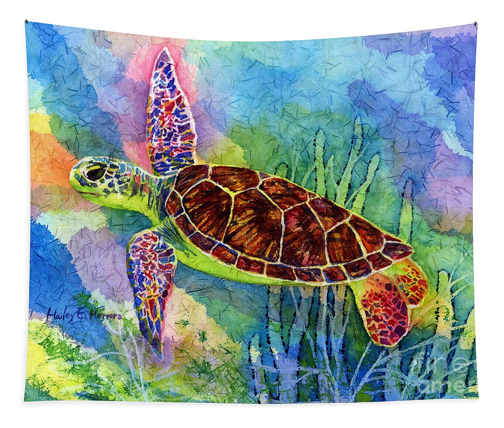 Turtle Tapestry featuring the painting Sea Turtle by Hailey E Herrera
