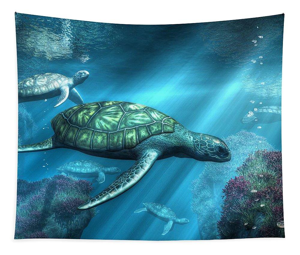 Sea Turtles Tapestry featuring the digital art Sea Turtles by Daniel Eskridge