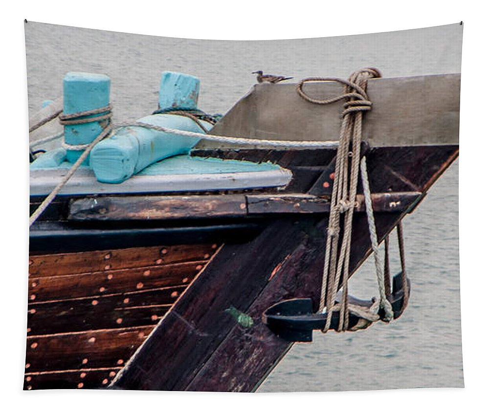 Seagull Tapestry featuring the photograph Seagul On A Dow's Bow by Alex Hiemstra