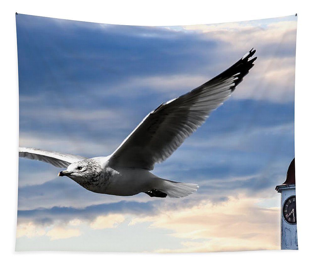 Seagull Tapestry featuring the photograph Seagull And Clock Tower by Bob Orsillo