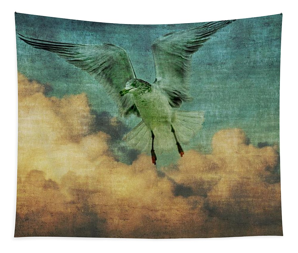 Bird Tapestry featuring the photograph Seagull In The Clouds by Alice Gipson