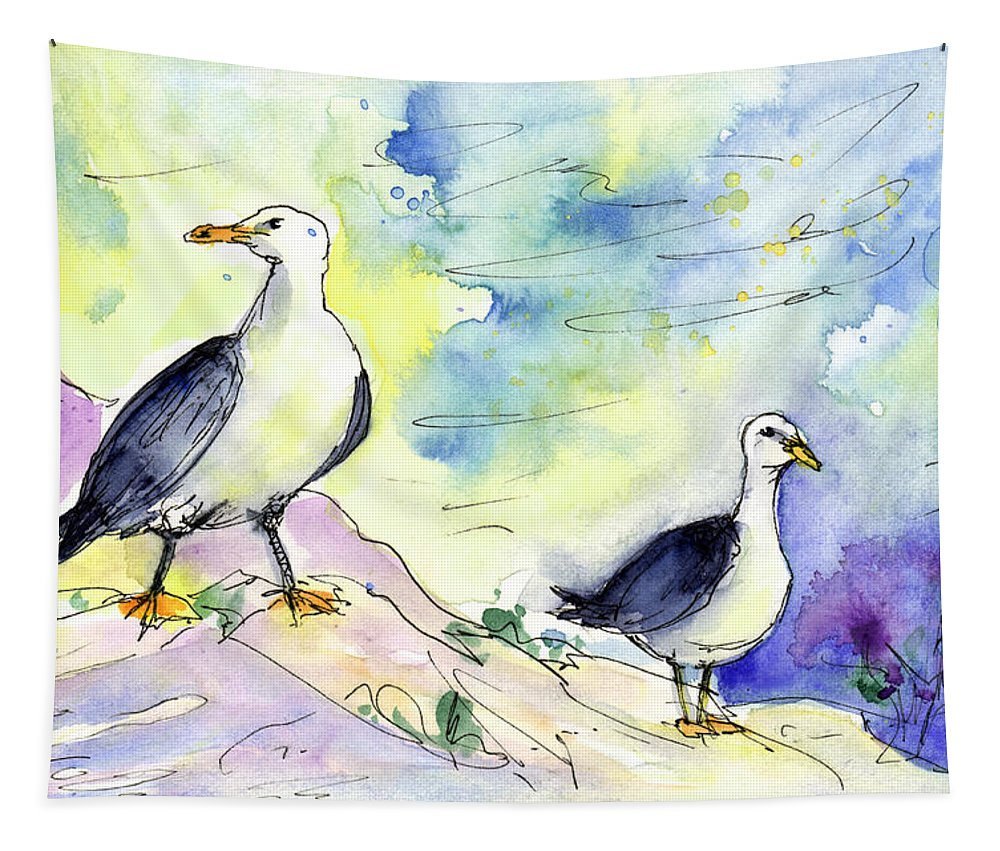 Travel Tapestry featuring the painting Seagulls In Calpe In Spain by Miki De Goodaboom