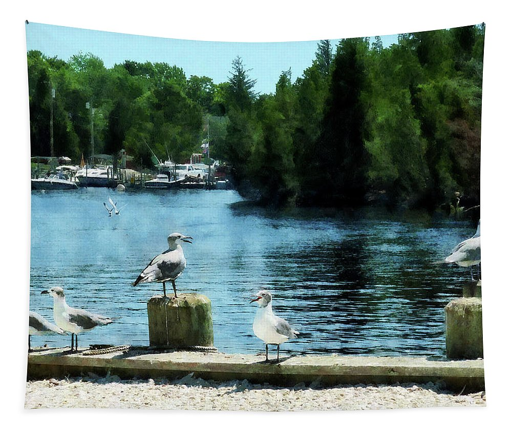 Boat Tapestry featuring the photograph Seagulls On The Pier by Susan Savad