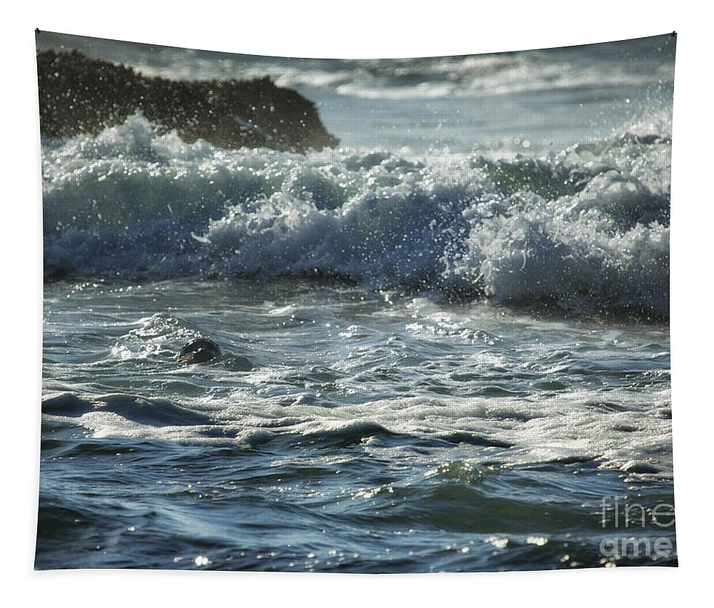 Seal Tapestry featuring the photograph Seal Surfing Waves by Belinda Greb