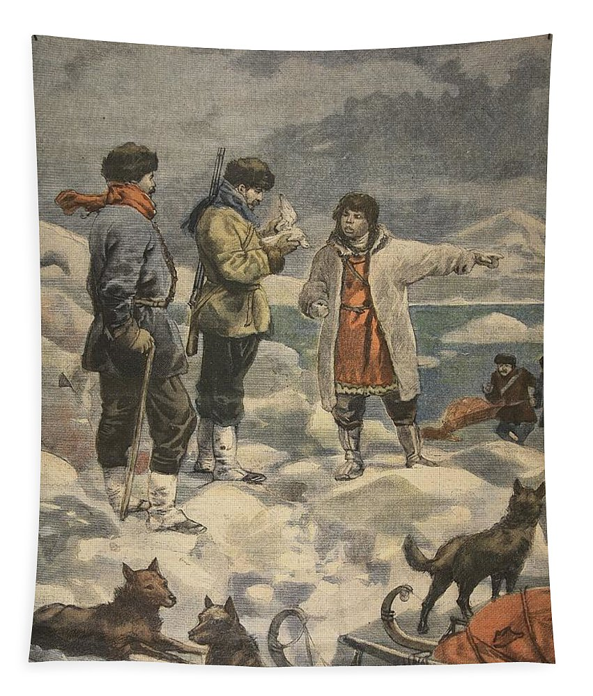 Arctic Exploration Tapestry featuring the drawing Searching For Andree, News! by French School