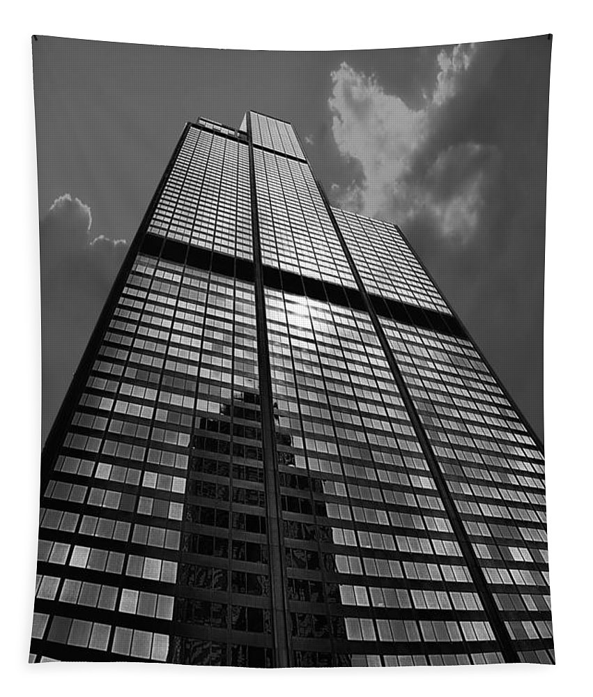 Cities Tapestry featuring the photograph Sears Willis Tower Black And White 02 by Thomas Woolworth