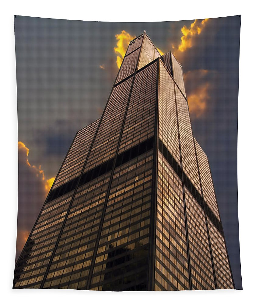 Cities Tapestry featuring the photograph Sears Willis Tower by Thomas Woolworth