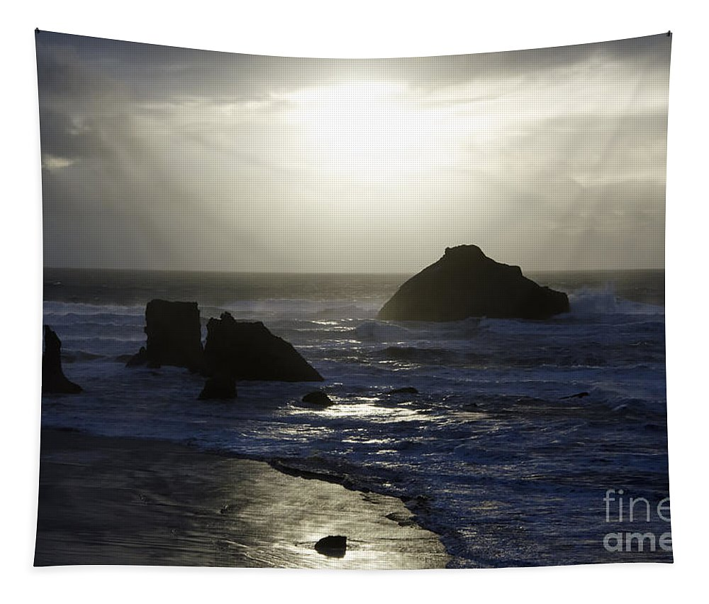 Bandon Tapestry featuring the photograph Seascape Oregon Coast 4 by Bob Christopher