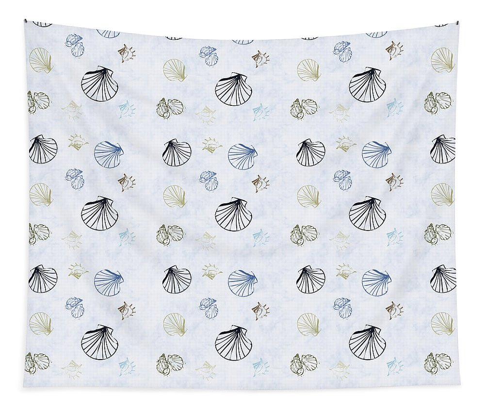 Seashell Tapestry featuring the mixed media Seashell Pattern by Christina Rollo
