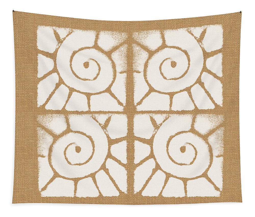 Abstract Pattern Tapestry featuring the painting Seashell Tiles by Linda Woods