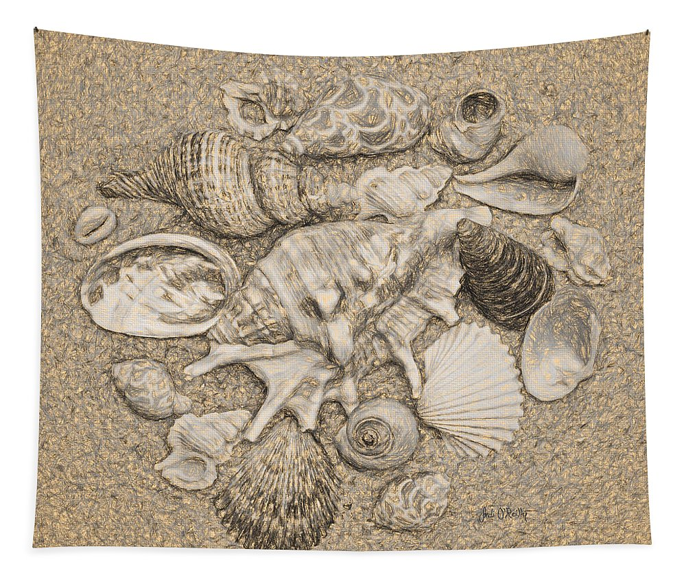 Seashells Tapestry featuring the digital art Seashells Collection Drawing by Sandi OReilly