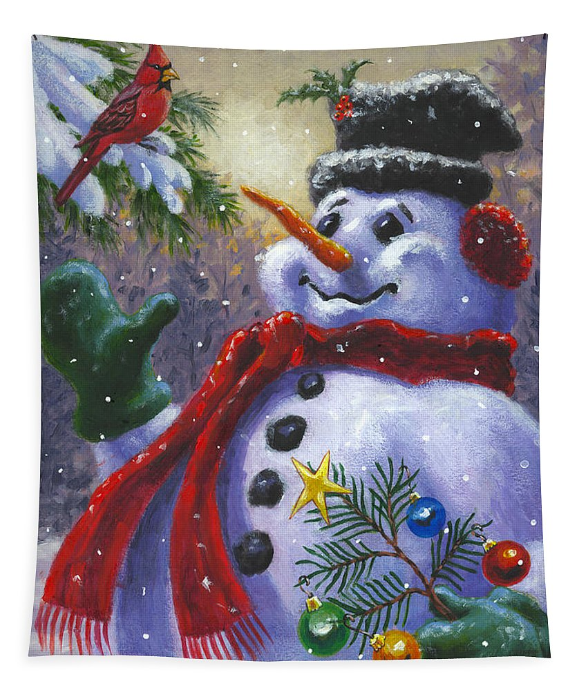 Snowman Tapestry featuring the painting Seasons Greetings by Richard De Wolfe