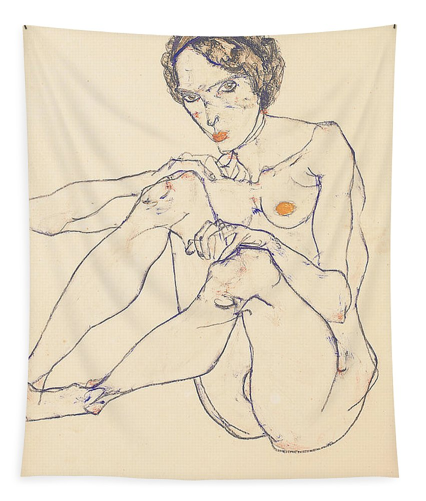 Egon Schiele Tapestry featuring the painting Seated female nude by Egon Schiele