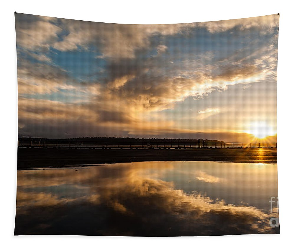 Ferry Tapestry featuring the photograph Seattle Clouds Sunstar by Mike Reid